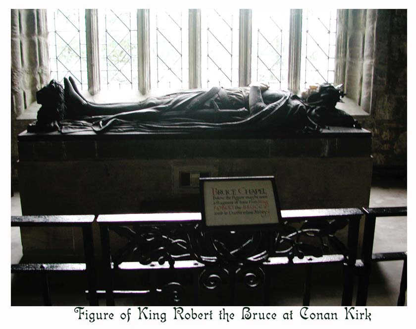 A supposed fragment of Robert the Bruce's bone is displayed under statue.