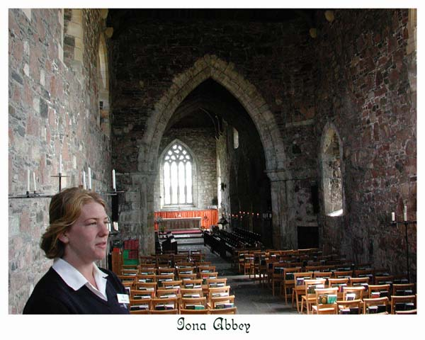 Inside Iona Abbey.  Church services are still conducted here.