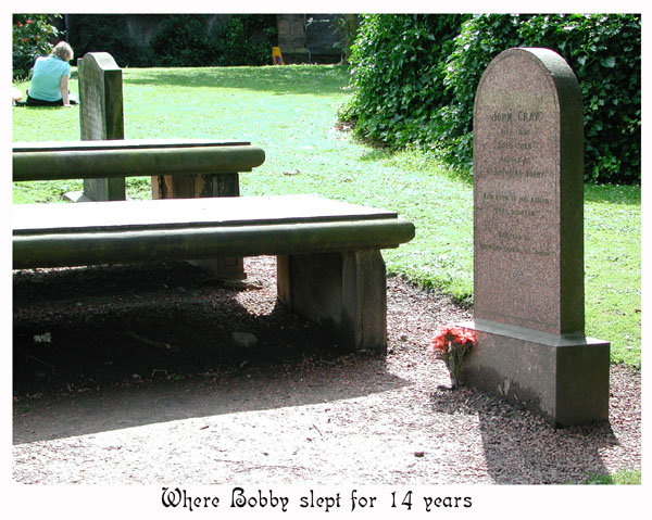 Bobby slept under the burial slab at the left of Auld Jock's grave.