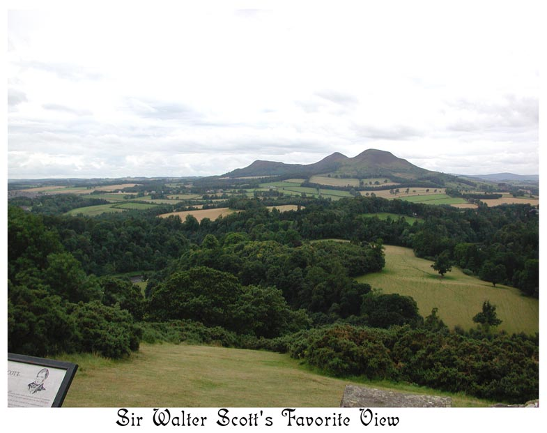 Sir Walter Scott would stop his horses here every time he passed to enjoy the view. When his burial procession passed this site, the horses stopped as always.