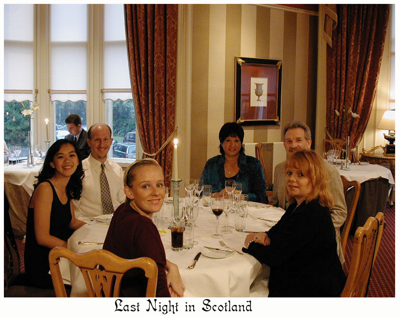 Our grand finale dinner at One Devonshire Gardens, Glasgow, August 19, 2001